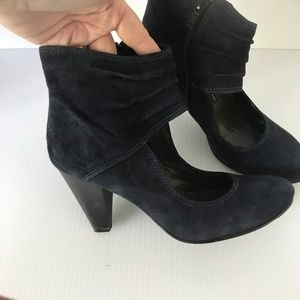 FRANCESCO MORICHETTI Suede Block Heel Ankle Pumps